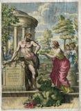 古色古香的艺术赫拉克勒斯,宙斯的儿子与蛇的1646 免版税库存图片