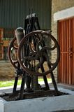 古色古香的英国手在巴基斯坦交通博物馆Golra谢里夫伊斯兰堡转动了泵浦 图库摄影