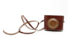 古色古香的袋子褐色照相机老照片 库存图片