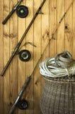 古色古香的设备捕鱼 免版税库存照片
