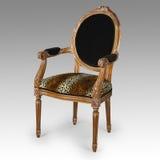古色古香的豹子印刷品椅子 库存照片