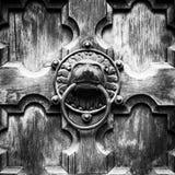 古色古香的通道门环形状的狮子的头 免版税库存照片
