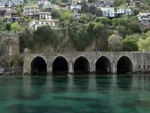 古色古香的造船厂在阿拉尼亚,土耳其 免版税库存图片