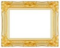 古色古香的金子和白色框架被隔绝的装饰被雕刻的木立场 免版税库存照片