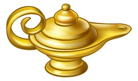 古色古香的金阿拉丁不可思议的灯 向量例证