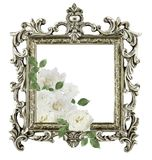 古色古香的金黄在白色backgr隔绝的框架白玫瑰 免版税库存图片