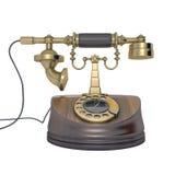 古色古香的金黄电话 库存图片
