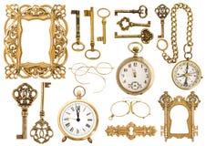 古色古香的金黄辅助部件 葡萄酒画框时钟钥匙 库存图片