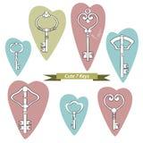 古色古香的钥匙的汇集您的设计或剪贴薄的 免版税库存图片
