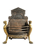 古色古香的铁和黄铜壁炉磨碎,老葡萄酒古董iso 免版税库存图片