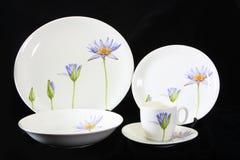 古色古香的陶器集合,套碗筷 免版税库存照片