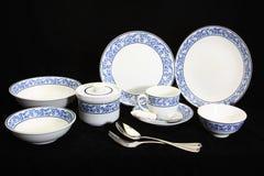 古色古香的陶器集合,套碗筷 图库摄影