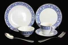 古色古香的陶器集合,套碗筷 免版税库存图片