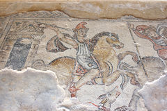 古色古香的马赛克,国家公园Zippori,内盖夫加利利,以色列 免版税库存照片