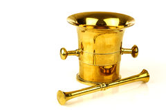 古色古香的黄铜灰浆杵 库存照片