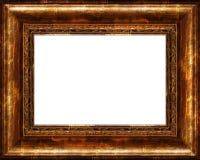 古色古香的黑暗的土气框架金黄查出&# 库存照片