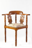 古色古香的19世纪果树木指挥椅子或角椅 免版税库存图片