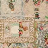 古色古香的维多利亚女王时代的贺卡拼贴画背景 图库摄影