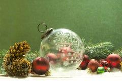 古色古香的水晶圣诞节装饰品 图库摄影