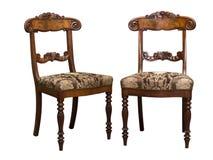 古色古香的Biedermeier椅子与和木雕刻 免版税库存图片