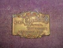 古色古香的conn萨克斯管商标 免版税库存照片