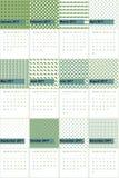 古色和草绿色色的几何样式排进日程2016年 免版税库存照片