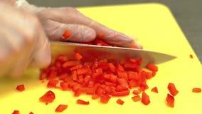 古芝,慢动作:厨师非常迅速切新鲜的保加利亚胡椒 股票视频