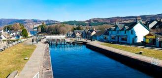 古苏格兰运河锁 库存图片