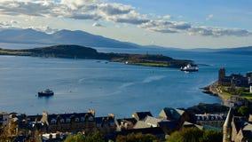 古苏格兰MacBrayne轮渡在Oban附近的水中 免版税库存照片