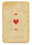古董使用了心脏纸背景纸牌一点与三个标志的 免版税库存照片