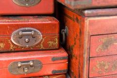 古董把中国人装箱 免版税库存照片