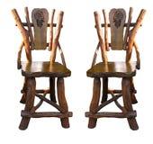 古董椅子手工查出老木 免版税库存照片