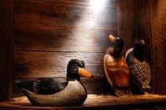 古董被雕刻的林鸳鸯诱饵在老狩猎谷仓 免版税库存图片