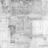 古董被洗涤的文本拼贴画 免版税库存照片