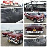 古董车展示纽约1956年薛佛列贝莱尔 库存照片