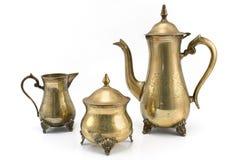 古董集合银色茶壶 免版税库存图片