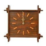古董,在空白背景的木时钟 免版税图库摄影
