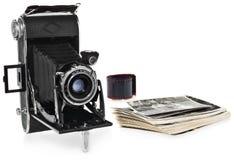 古董,黑色,袖珍照相机,减速火箭的黑白照片,照相机的历史的阴性 库存照片