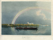 古董1860对ThamesRiver的彩虹作用在伦敦 库存图片