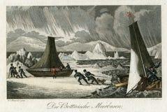 古董1830斯堪的那维亚,波的尼亚海湾, Meerbusen,爬犁 库存照片