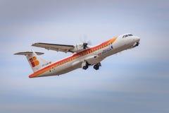 古西班牙地方航空器离开 库存照片