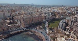 古都市空中全景视图瓦莱塔,马耳他 影视素材