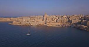 古都市空中全景视图瓦莱塔,马耳他 股票录像