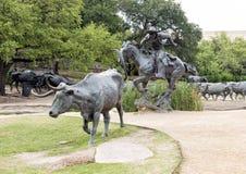 古铜操舵和牛仔雕塑先驱广场,达拉斯 免版税库存图片
