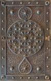 古铜板材华丽门,开罗,埃及的装饰品 免版税库存照片