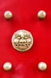 古铜色中国顶头狮子 库存图片