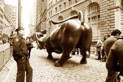 古铜色公牛位于Bowling Green公园 免版税库存照片