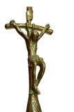 古铜色十字架的耶稣 库存图片