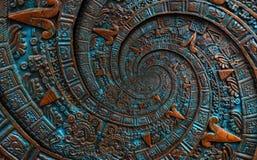 古铜色古老古色古香的古典螺旋阿兹台克装饰品样式装饰设计背景 超现实主义的抽象纹理分数维 免版税库存图片