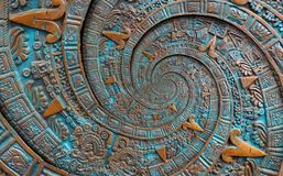 古铜色古老古色古香的古典螺旋阿兹台克装饰品样式装饰设计背景 超现实主义的抽象纹理分数维 库存图片